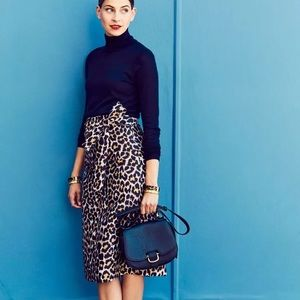 J. Crew Tie waist leopard print pencil skirt 0